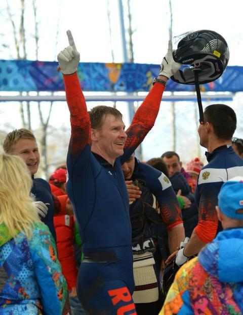 Alexander Zubkov  pictured here celebrating his gold in the four-man bobsleigh at the Sochi winter O...