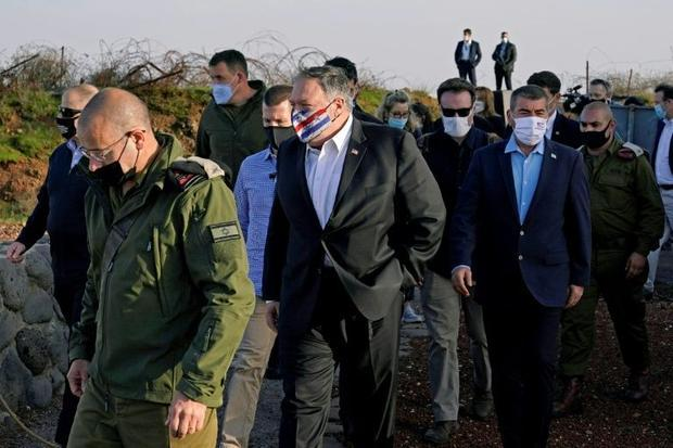 US Secretary of State Mike Pompeo and Israeli Foreign Minister Gabi Ashkenazi arrive for a security ...