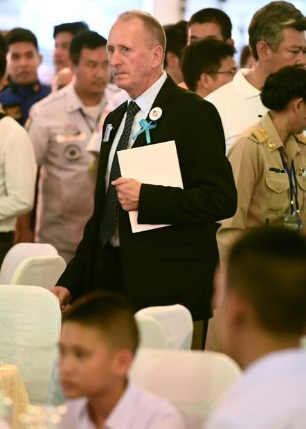 British diver Vernon Unsworth attends a thanksgiving reception in Bangkok on September 6  2018 for t...