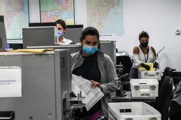 Election workers count ballots in Miami on November 3  2020