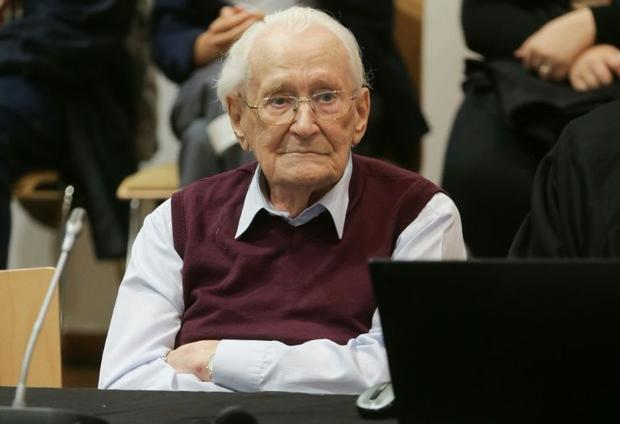 Former Nazi SS officer Oskar Groening listens to the verdict in his trial on July 15  2015 at court ...