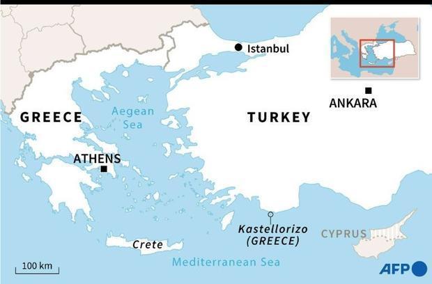 Map locating the Greek island of Kastellorizo  close to the Turkish coast