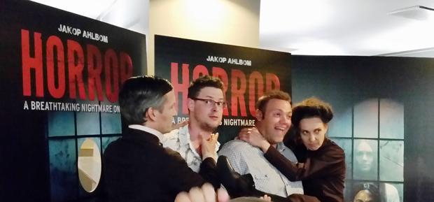 After the production of Horror the cast are happy to pose for photographs.
