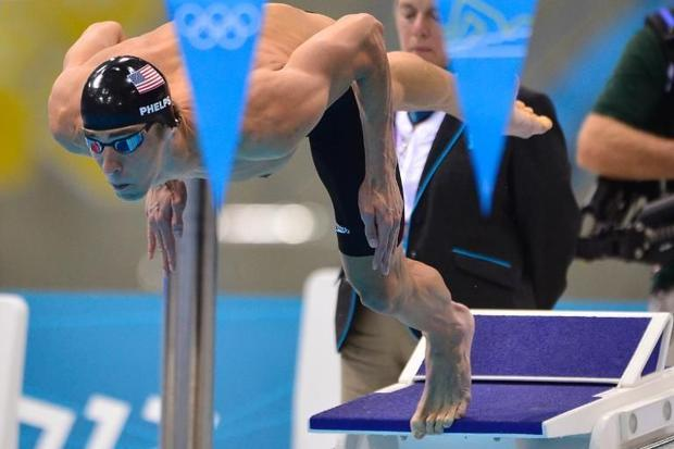 US swimmer Michael Phelps  seen at the start of the men's 200m individual medley final event du...