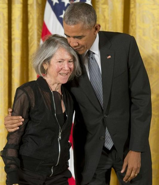 Then US President Barack Obama presentse Gluck with the 2015 National Humanities Medal