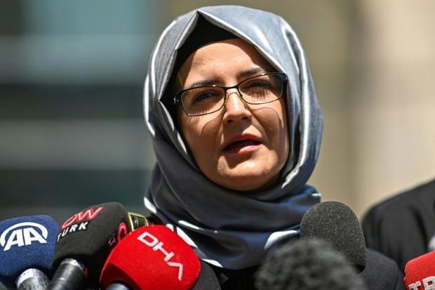 Hatice Cengiz  the fiancee of slain journalist Jamal Khashoggi  speaks to the press in 2020