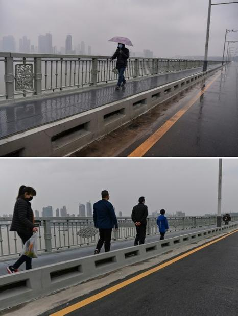 This combination of two pictures taken in Wuhan shows a man wearing a protective face mask walking o...