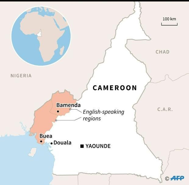 Map of Cameroon locating English-speaking regions and their capitals  Bamenda and Buea