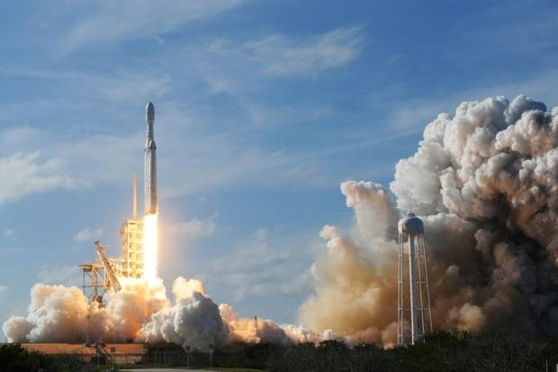 The SpaceX Falcon Heavy launches from Pad 39A at the Kennedy Space Center in Florida  on February 6 ...