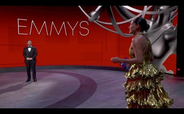 Tracee Ellis Ross (R)  one of the few stars on the Emmys stage with host Jimmy Kimmel  oozed glamour...