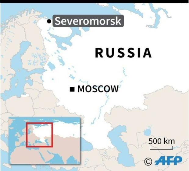 Map of Russia locating Severomorsk in the far north  where the defence ministry said 14 crew died in...