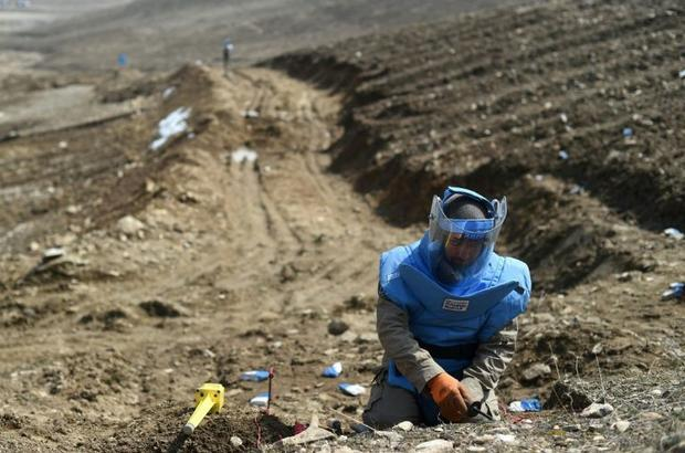 An Afghan mine-clearing expert working in the Deh Sabz district of Kabul