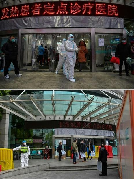 This combination of two pictures taken in Wuhan shows medical personnel wearing protective clothing ...
