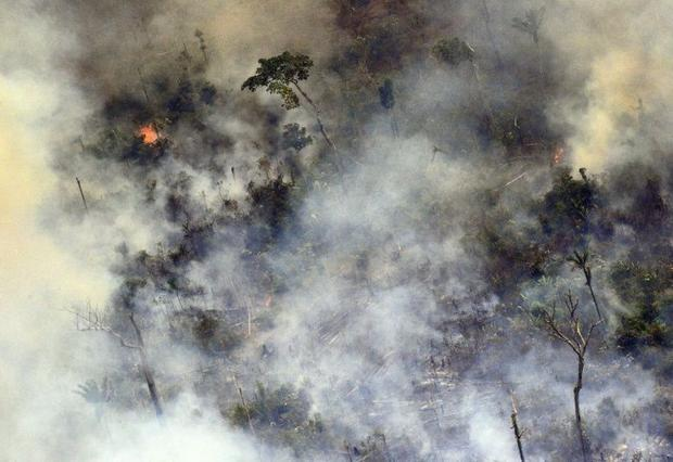 Aerial picture showing smoke from a two-kilometre-long stretch of fire billowing from the Amazon rai...