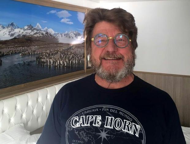 Charley Nadin  67  posing onboard the Australian cruise ship Greg Mortimer off the port of Montevide...