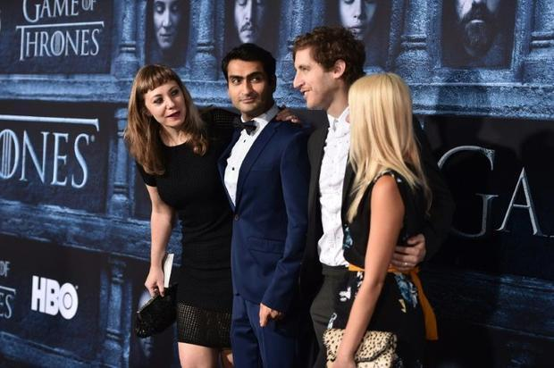 (L-R) Emily V. Gordon  Kumail Nanjiani  Thomas Middleditch  and Mollie Gates attend the premiere of ...