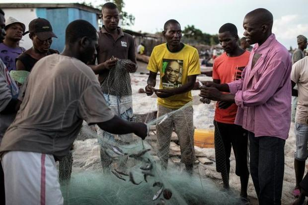 Malawian fishermen work through their catch on their return ashore on the banks of the Lake Malawi a...