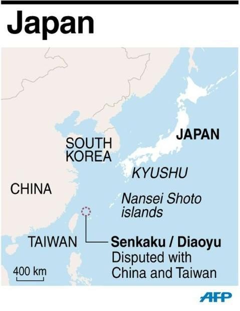 A map locating the Senkaku Islands  which Japan administers but China claims as the Diaoyus