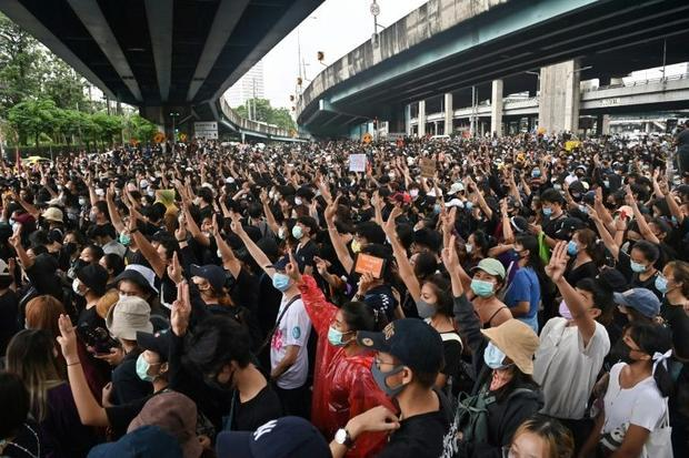 Thai pro-democracy protestors have adopted the three-finger salute from the dystopian 'Hunger G...