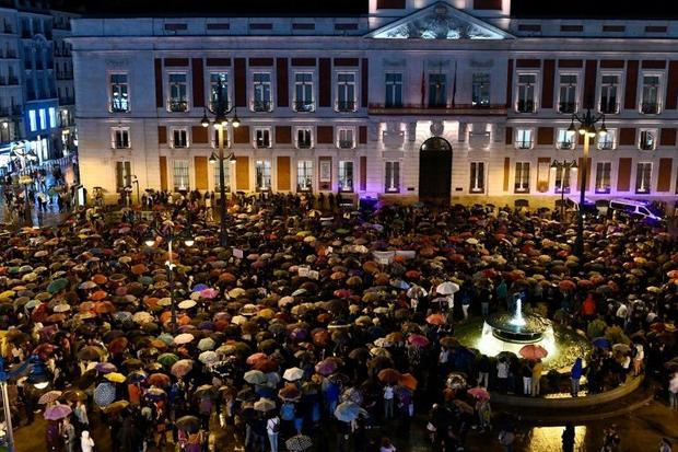 Protesters took to the the central Plaza de Sol square despite a thunderstorm