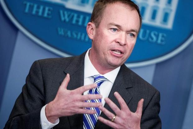 Office of Management and Budget Director Mick Mulvaney speaks about US President Donald Trump's...