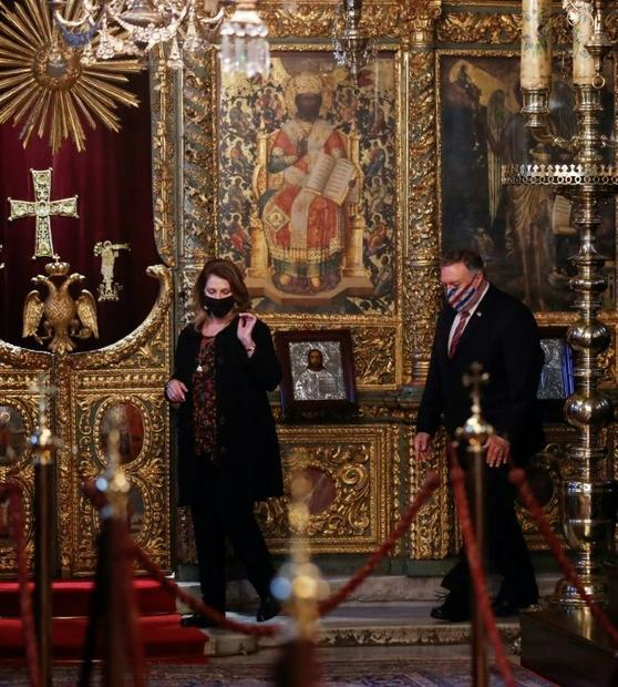 US Secretary of State Mike Pompeo and his wife Susan Pompeo visit The Patriarchal Church of St. Geor...