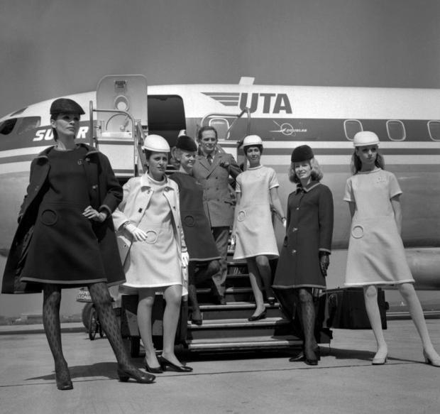 Cardin designed new uniforms for UTA' s flight attendants in 1968