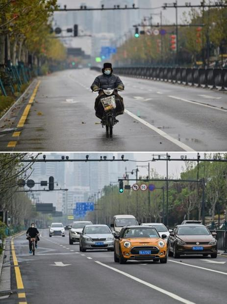This combination of two pictures taken in Wuhan shows a man riding a motorcycle on a street on Janua...