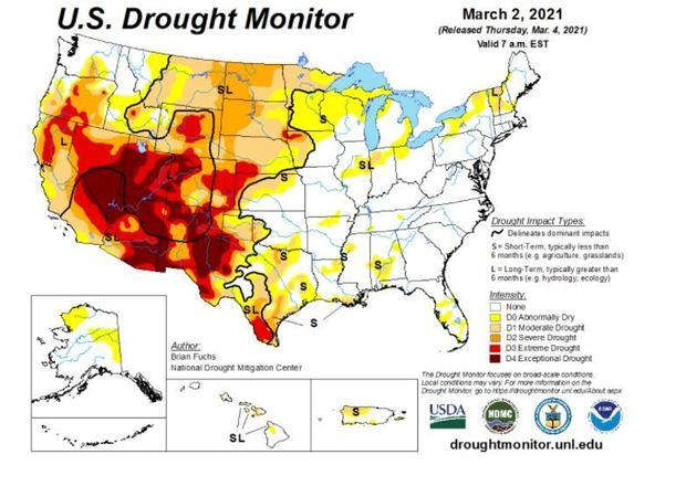 The extent of the ongoing drought in Western states is obvious.