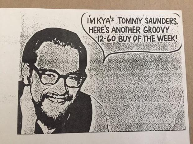 Tommy Saunders in an ad from the 1960s promoting KYA AM radio San Francisco.