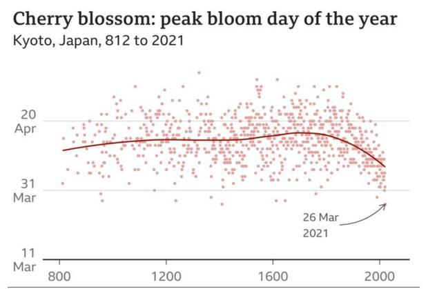 Historical Series of Phenological data for Cherry Tree Flowering at Kyoto City (and March Mean Temp...