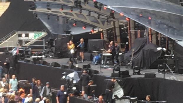 Tom Chaplin on stage at Wembley Stadium  London  opening for Jeff Lynne s ELO  June 24 2017