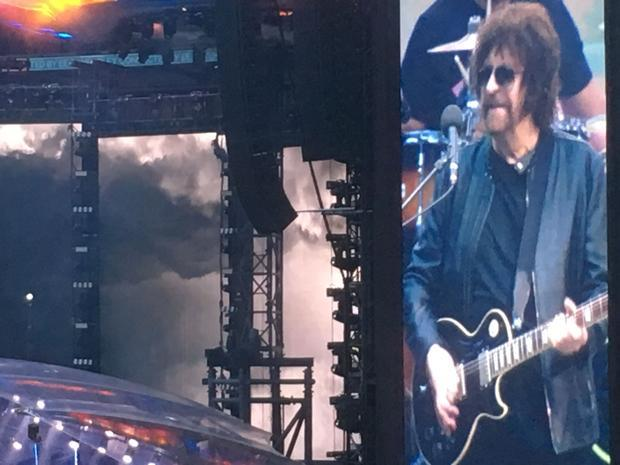 Jeff Lynne on the giant video screen at Wembley Stadium  June 24 2017