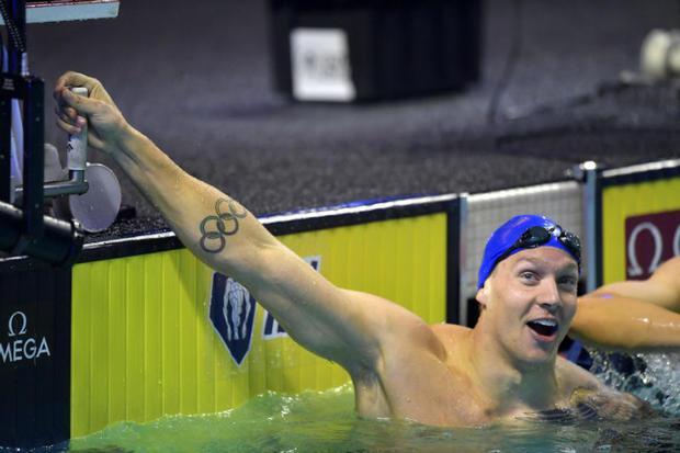 World champion swimmer Caeleb Dressel competing in the International Swimming League