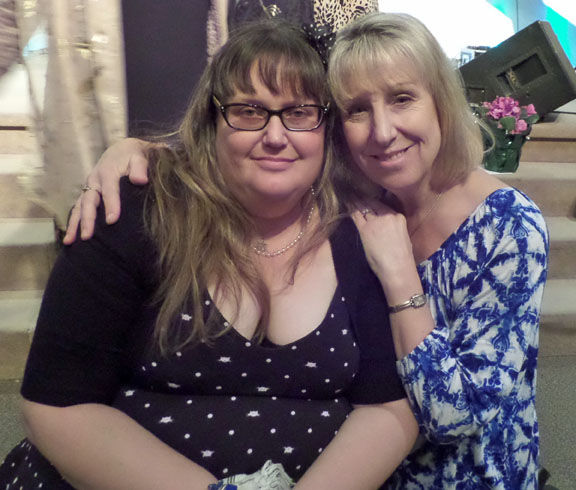 Jennifer Thalasinos poses with Pastor Kathleen Dowell at Shiloh Messianic Congregation s memorial se...