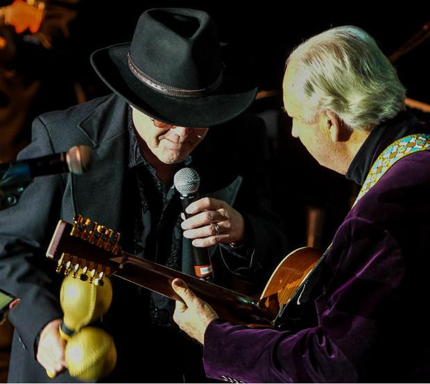 Micky Dolenz and Mike Nesmith onstage at The Paramount