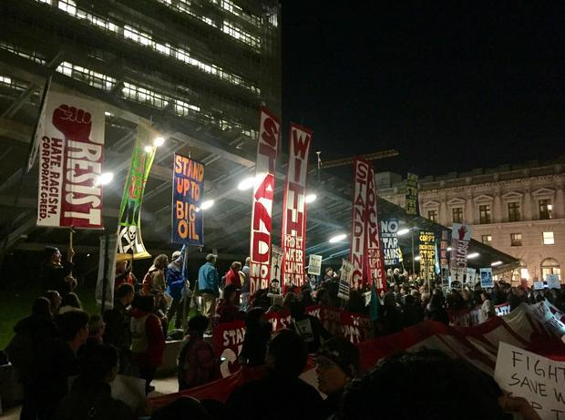 Hundreds of people rallied against President Donald Trump s executive orders reviving the Keystone X...