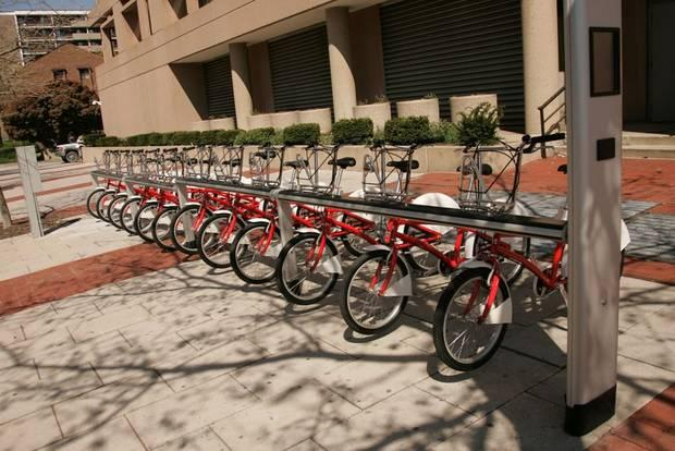 A rack of SmartBike bicycles
