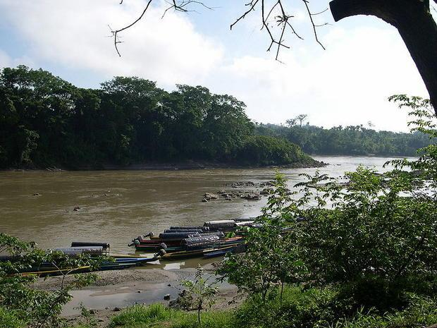 The Usumacinta River  at the border between Chiapas  Mexico (near side) and Guatemala (far side). Ma...