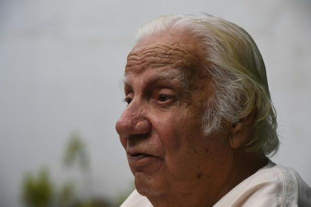 Saeed Hasan Khan speaks during an interview with AFP in Karachi. This month marks 70 years since Bri...