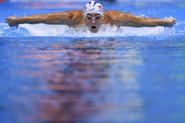 USA's Michael Phelps competes in a men's 200m butterfly heats on August 8  2016