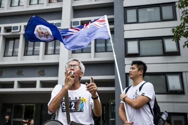 An activist calls for a strike at the Chinese University of Hong Kong on September 22  2014