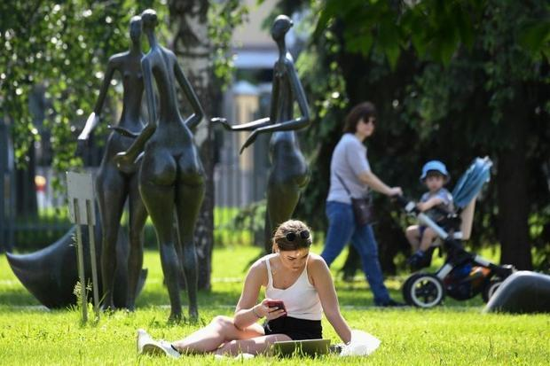 Moscow residents enjoyed the sunshine after weeks of rain in the city