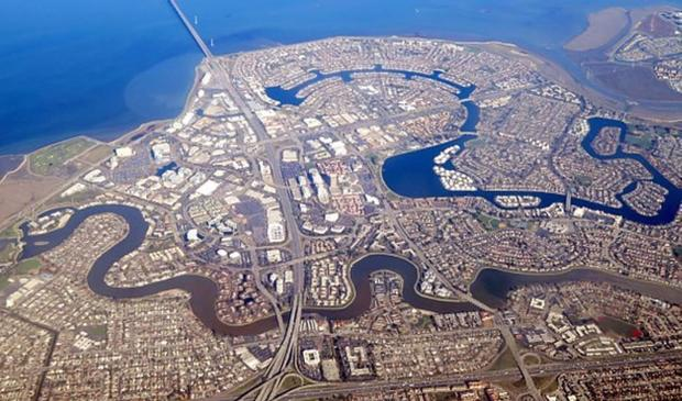 Foster City  along with Treasure Island and the San Francisco International Airport is sinking at a ...