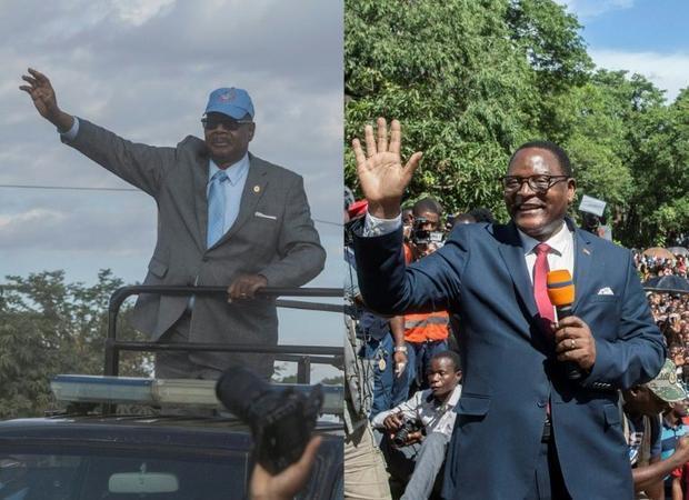 Malawi's President Peter Mutharika (left) and Malawi Congress Party (MCP) leader Lazarus Chakwe...