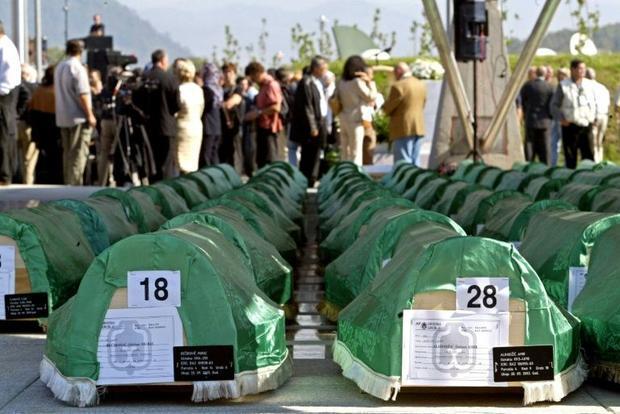 Coffins of some of the victims of the Srebrenica massacre at the Srebrenica memorial center  northea...