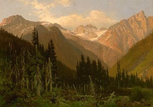 At the Rogers Pass  Summit of the Selkirk Range  B.C.  This painting now hangs in the National Gall...