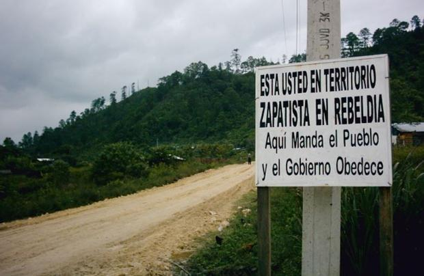 Sign indicating the entrance of Zapatista rebel territory.  You are in Zapatista territory in rebell...