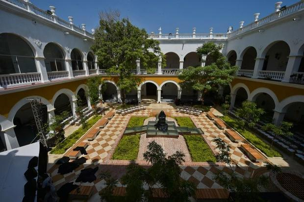 General view of the inner courtyard of the former La Merced monastery where the ashes of Colombian w...