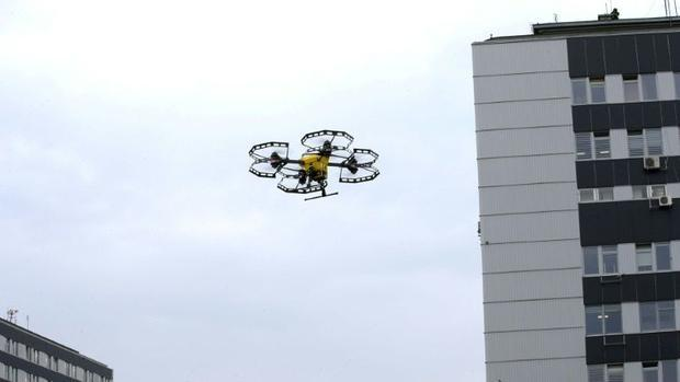 A P-art Studio picture shows a Hermes V8MT medical drone made by Spartaqs transporting coronavirus t...